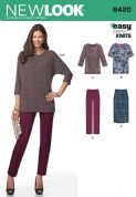 6420 New Look Pattern: Misses' Knit Skirt, Pants and Top